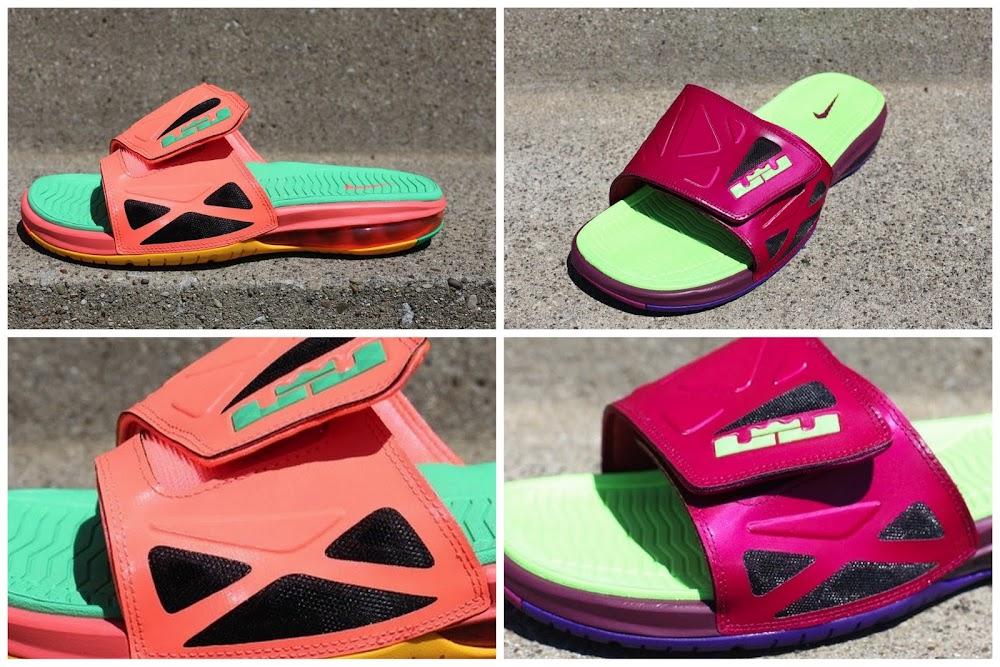 30c5ad9c574 New Raspberry amp Mango Nike Air LeBron 2 Elite Slides ...