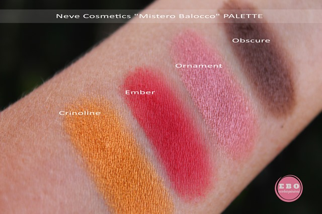PALETTE BAROCCO_NEVECOSMETICS_swatches