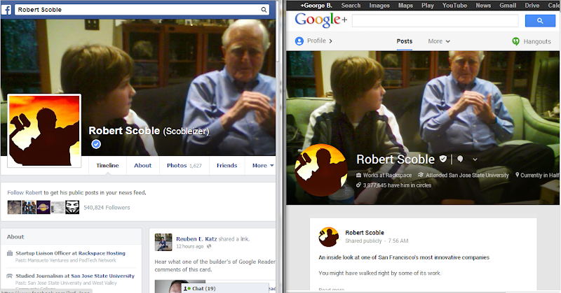 Facebook vs. Google Plus profiles