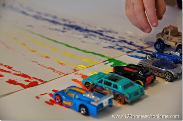 Painting with Cars activity for kids