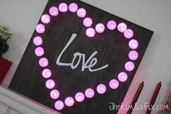 Pink heart marquee light