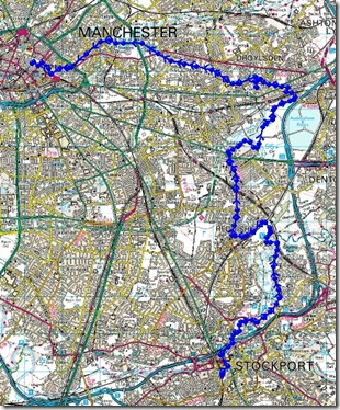 Stockport to Manchester route