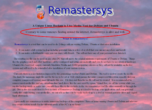 remastersys is back
