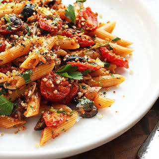 Triple Garlic Pasta With Oven-Dried Tomatoes, Olives, and Bread Crumbs.