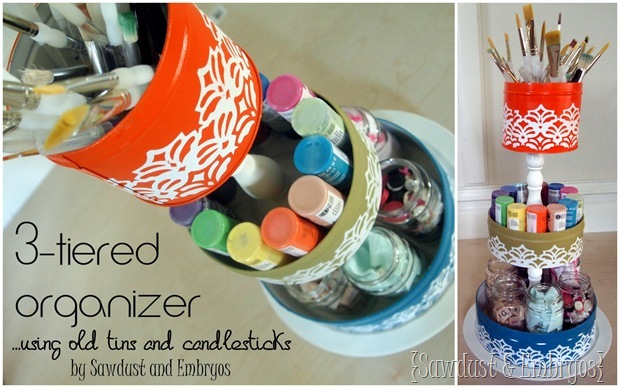 3-Tiered Organizer... using old tins and candlesticks! {Sawdust and Embryos}