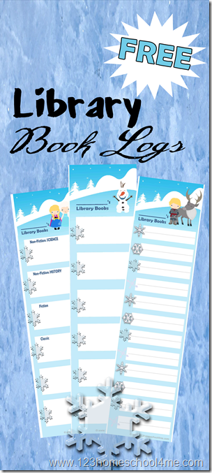FREE Disney Frozen Printable LIbrary Book Logs #disney #disneykids #homeschooling #kids
