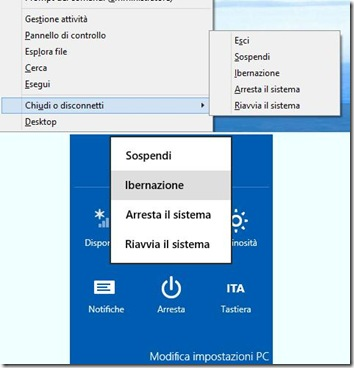 Opzione Ibernazione nei menu Windows 8 e 8.1