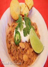 Blanco chili with Spicy Sweet cornbread