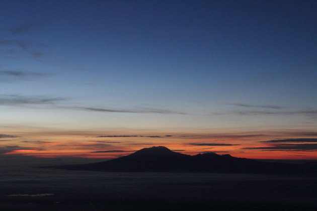 Sunrise over the volcanoes of Central Java, Indonesia