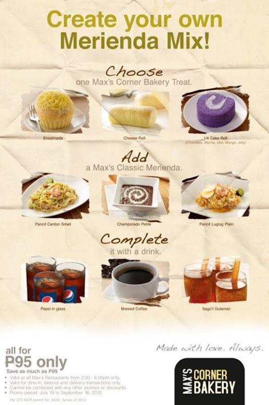 Max's Merienda Mixes Menu