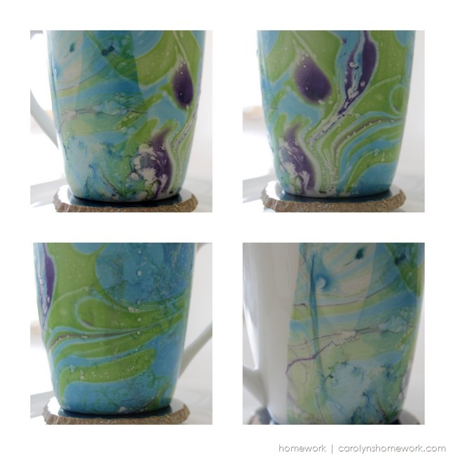 Marbled Coffee Cup with Nail Polish via homework | carolynshomework.com