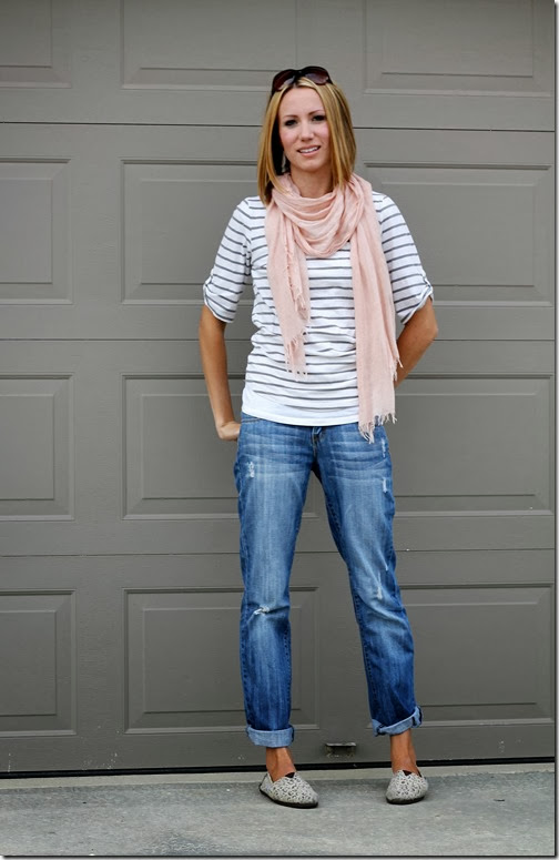 striped tee + scarf + boyfriend jeans + TOMS