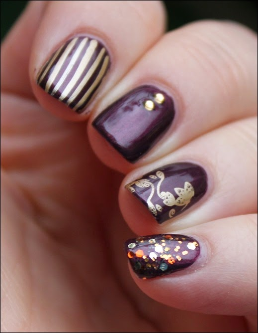 Autumn Nail Art Herbst Nageldesign Mix Match Skittle Purple 04