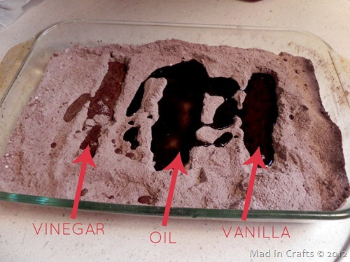 add wet ingredients to wacky cake