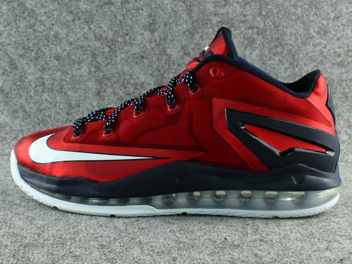 timeless design 1b1a1 363f2 642849-614 University Red Obsidian-White. This LeBron 11 Low Dipped in USA  Colors Drops in June ...
