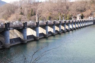 ダム湖側左岸より堤体を望む