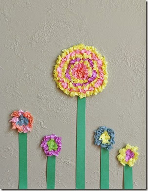 Textured Tissue Paper Flower Craft from Buggy and Buddy
