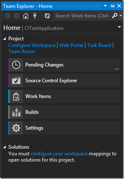 Configure work space in Team explorer visual studio