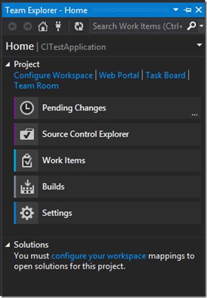 Configure work space in Team explorer visual studio