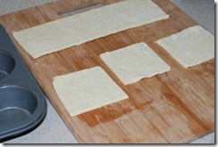 Cut the puff pastry sheet into squares