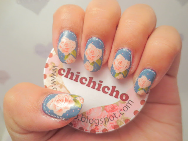Patched Roses Water Transfer Decal Nail Art