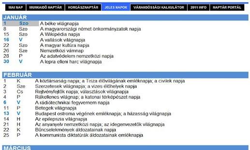 Naptár Portál - naptarak.com- screenshot thumbnail
