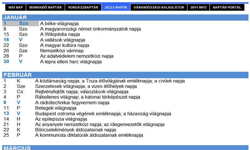 Naptár Portál - naptarak.com- screenshot