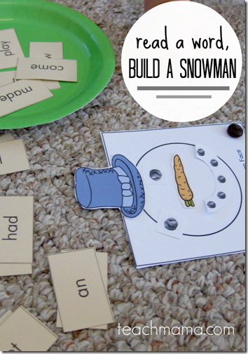 Snowman Reading Game - This is such a cute and easy to play game for Preschool, Kindergarten, 1st grade, or 2nd grade. The free printable game has lots of optoins to adapt to many ages. Perfect for homeschool kids!