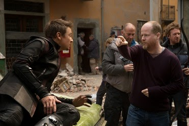Marvel's Avengers: Age Of Ultron..L to R: Jeremy Renner (Hawkeye) on set with Director (Joss Whedon)..Ph: Jay Maidment..©Marvel 2015