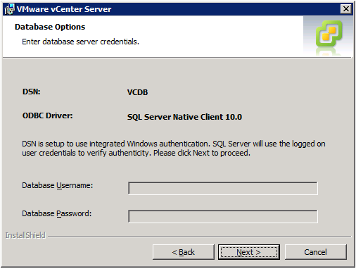 VMware vCenter Server Installer - Database Options