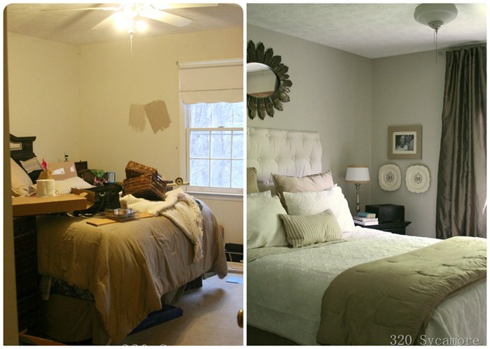 master bedroom before after