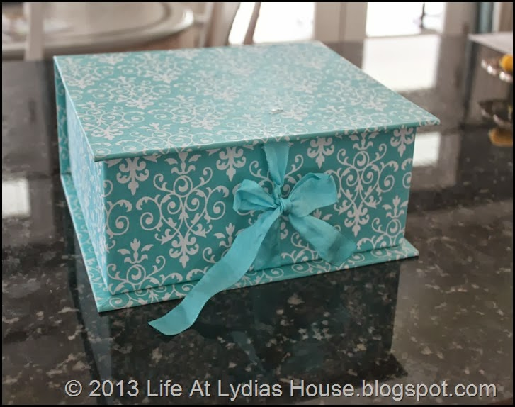 blue fabric covered box