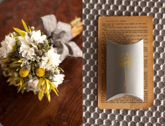 yellow-white-wedding-bouquet-billy-balls-dandelion-wine-unique-favor-ideas-vintage-books-modern-wedding-style-580x435 the sweetest occasion