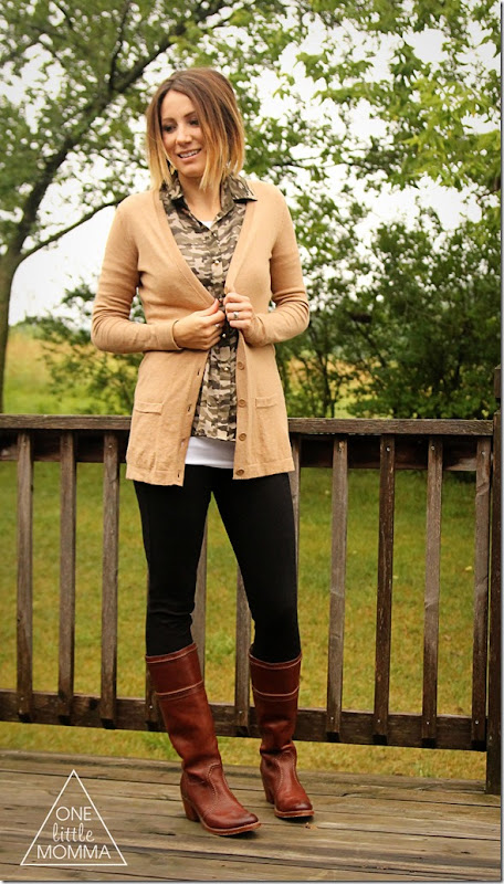 boyfriend cardigan, camo blouse, tall boots #cbias #shop