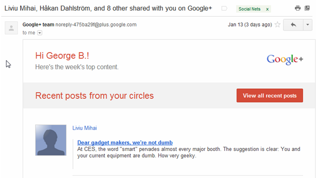 Google Plus weekly digest emails
