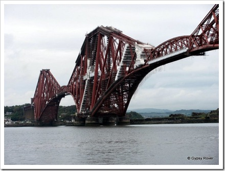 Scaffolding covers the Firth of Forth railway bridge during it's 20 year repaint.