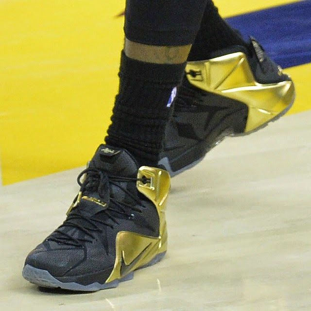 newest a0439 19e77 LBJ Wears Black amp Gold Nike LeBron 12 for Grammy Night ...
