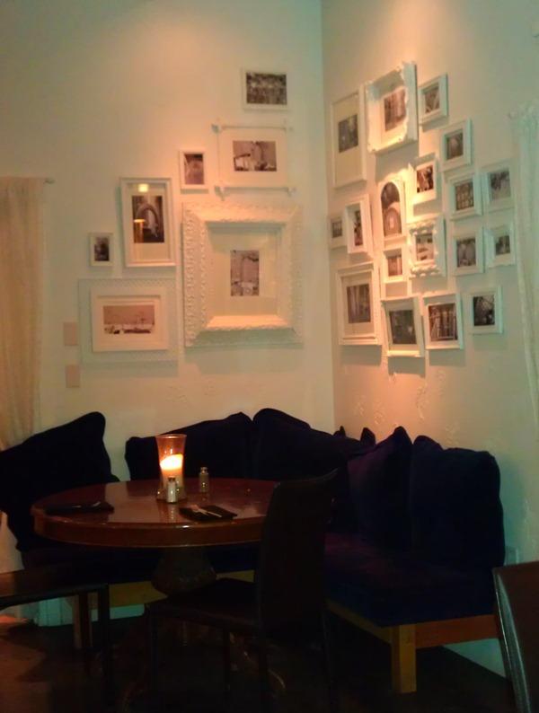 White gallery wall (Mica Restaurant via Little Victorian)