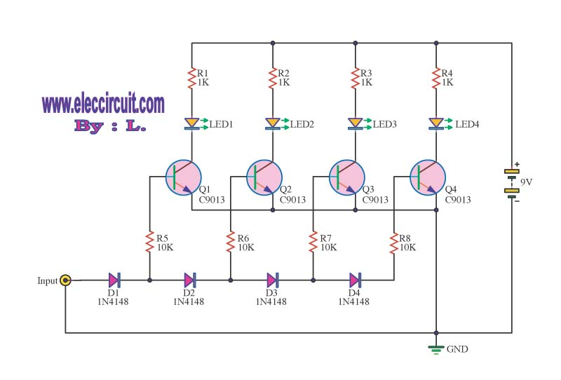 Sound Audio Level Led Meter Circuit Diagram