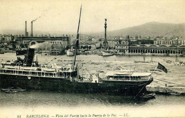 Vapor LEON XIII. Puerto de Barcelona. Postal..jpg
