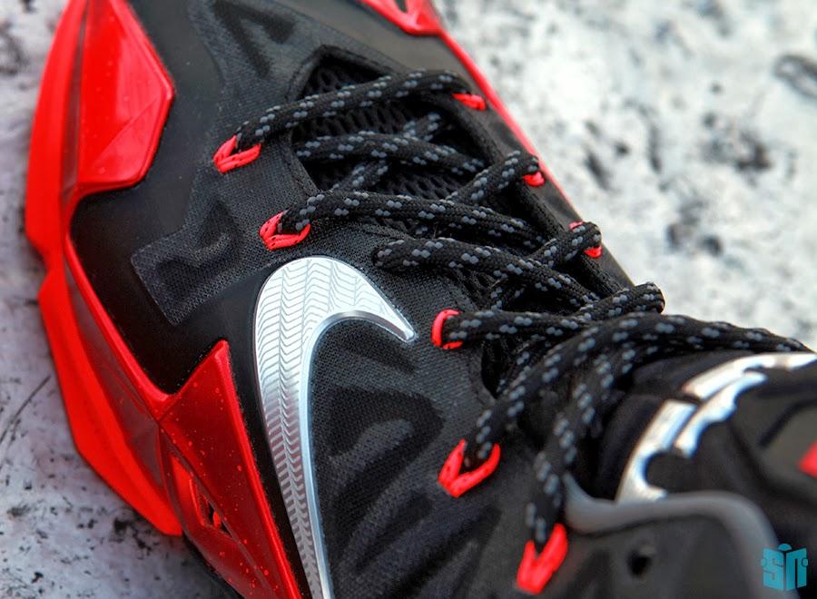b687fc630fb3 616175-001 Black Metallic Silver-University Red-Bright Crimson. Another  Look at Nike LeBron XI 11 Black Red Heat Away ...