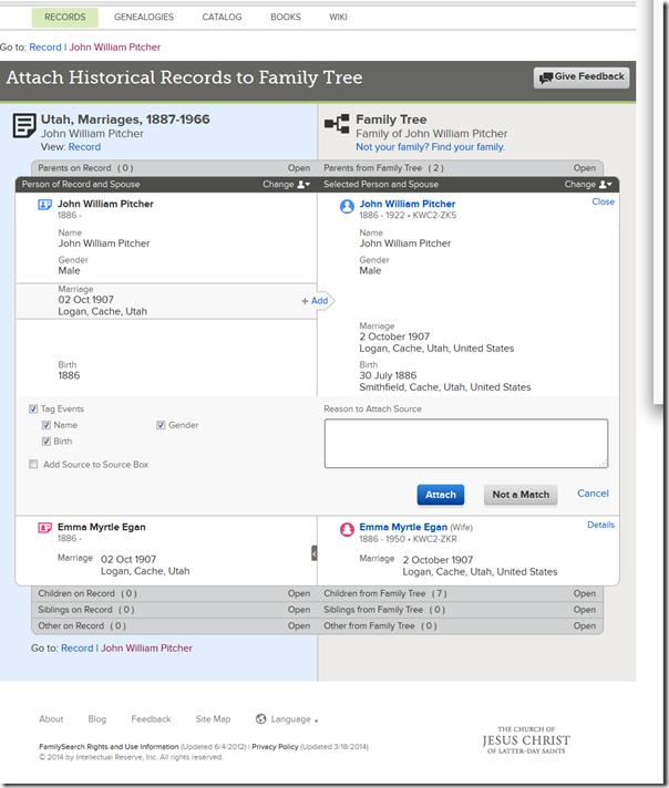 从增强型附件记录页面中提到的每个人的每个人都附加记录。