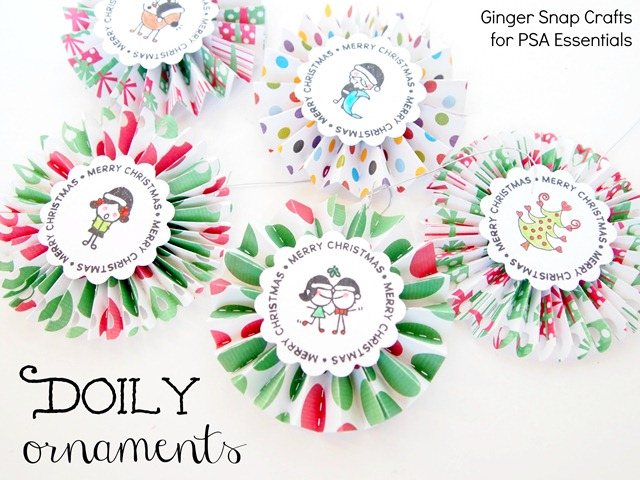 doily ornaments using PSA Essentials stamp