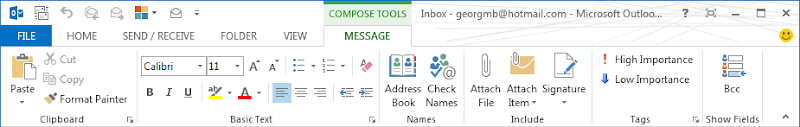 Office 2013 Outlook message ribbon for inline replies