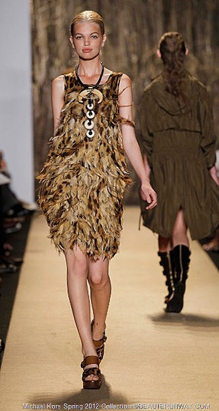 MICHAEL KORS 2012 SPRING COLLECTION LEOPARD HAND PAINTED FEATHERED SHIFT