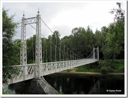 Canbus O'May suspension bridge over the river Dee. Built in 1905 reconstructed 1988.