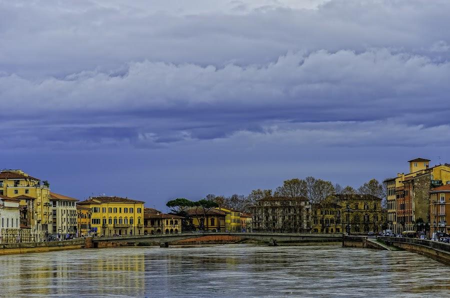 River Arno - Pisa by Mihail Marzyanov - City,  Street & Park  Vistas