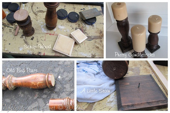 Repurposed Bed Parts DIY Candlesticks