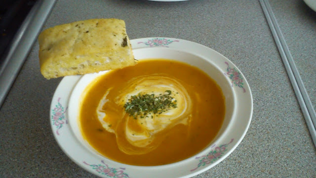 Homemade roasted squash and veg soup and homemade foccacia