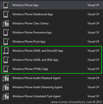 Windows Phone Project Templates
